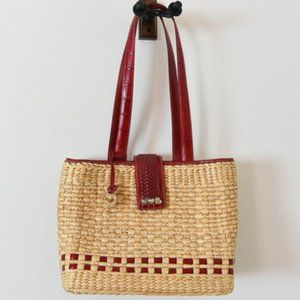 Brighton Straw Satchel with Red Leather